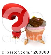 Clipart Of A 3d Chocolate Frosted Cupcake Character Holding Up A Question Mark Royalty Free Illustration by Julos