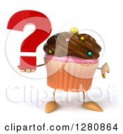 Clipart Of A 3d Chocolate Frosted Cupcake Character Holding A Question Mark And Thumb Down Royalty Free Illustration by Julos