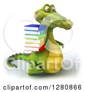 Clipart Of A 3d Crocodile Walking To The Right And Holding A Stack Of Books Royalty Free Illustration