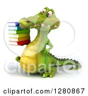 Clipart Of A 3d Crocodile Walking To The Left And Holding A Stack Of Books Royalty Free Illustration