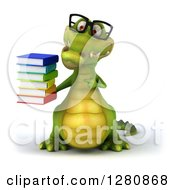 Clipart Of A 3d Bespectacled Crocodile Holding And Pointing To A Stack Of Books Royalty Free Illustration