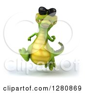Clipart Of A 3d Crocodile Wearing Sunglasses And Running Royalty Free Illustration