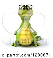 Clipart Of A 3d Crocodile Wearing Glasses Royalty Free Illustration