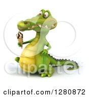 Clipart Of A 3d Crocodile Walking To The Left And Holding A Waffle Ice Cream Cone Royalty Free Illustration