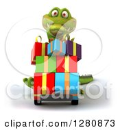 Clipart Of A 3d Crocodile Pushing Gifts On A Dolly Royalty Free Illustration
