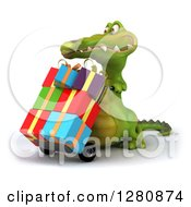 Clipart Of A 3d Crocodile Facing Left And Pushing Gifts On A Dolly Royalty Free Illustration