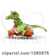 Clipart Of A 3d Bespectacled Crocodile Riding A Scooter To The Left Royalty Free Illustration