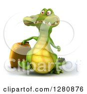 Clipart Of A 3d Crocodile Walking With Luggage Royalty Free Illustration
