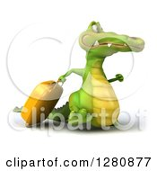 Clipart Of A 3d Crocodile Walking To The Right With Luggage Royalty Free Illustration