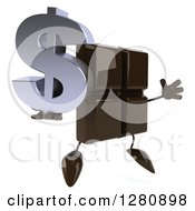 Clipart Of A 3d Chocolate Candy Bar Character Facing Right And Jumping With A Dollar Symbol Royalty Free Illustration