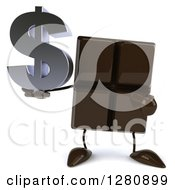 Clipart Of A 3d Chocolate Candy Bar Character Holding And Pointing To A Dollar Symbol Royalty Free Illustration