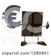 Clipart Of A 3d Chocolate Candy Bar Character Holding A Thumb Up And A Euro Symbol Royalty Free Illustration