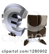 Clipart Of A 3d Chocolate Candy Bar Character Holding Up A Euro Symbol Royalty Free Illustration