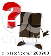 Clipart Of A 3d Chocolate Candy Bar Character Shrugging And Holding A Question Mark Royalty Free Illustration
