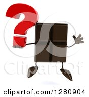 Clipart Of A 3d Chocolate Candy Bar Character Jumping And Holding A Question Mark Royalty Free Illustration