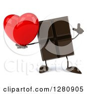 Clipart Of A 3d Chocolate Candy Bar Character Holding Up A Finger And A Heart Royalty Free Illustration
