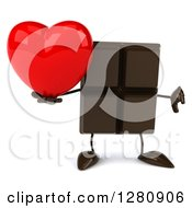 Clipart Of A 3d Chocolate Candy Bar Character Holding A Thumb Down And A Heart Royalty Free Illustration