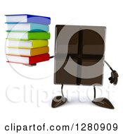 Clipart Of A 3d Chocolate Candy Bar Character Holding A Stack Of Books Royalty Free Illustration