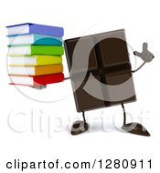 Clipart Of A 3d Chocolate Candy Bar Character Holding Up A Finger And A Stack Of Books Royalty Free Illustration