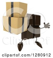Clipart Of A 3d Chocolate Candy Bar Character Facing Right Jumping And Holding Boxes Royalty Free Illustration