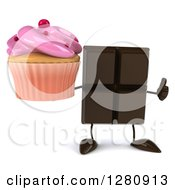 Clipart Of A 3d Chocolate Candy Bar Character Holding A Thumb Up And A Pink Frosted Cupcake Royalty Free Illustration