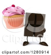Clipart Of A 3d Chocolate Candy Bar Character Holding And Pointing To A Pink Frosted Cupcake Royalty Free Illustration