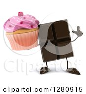 Clipart Of A 3d Chocolate Candy Bar Character Holding Up A Finger And A Pink Frosted Cupcake Royalty Free Illustration