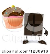 Clipart Of A 3d Chocolate Candy Bar Character Holding A Chocolate Frosted Cupcake Royalty Free Illustration