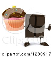 Clipart Of A 3d Chocolate Candy Bar Character Holding A Thumb Up And A Chocolate Frosted Cupcake Royalty Free Illustration
