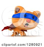 Clipart Of A 3d Super Hero Ginger Cat Walking To The Right Royalty Free Illustration