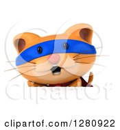 Clipart Of A 3d Super Hero Ginger Cat Over A Sign Board Royalty Free Illustration