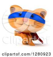 Clipart Of A 3d Super Hero Ginger Cat Presenting Royalty Free Illustration