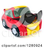 Clipart Of A 3d Spanish Flag Porsche Car Character Wearing Sunglasses And Facing Right Royalty Free Illustration