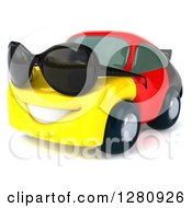 Clipart Of A 3d German Flag Porsche Car Character Wearing Sunglasses And Facing Slightly Left 2 Royalty Free Illustration