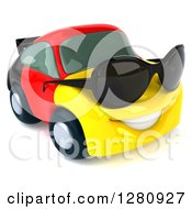 Clipart Of A 3d German Flag Porsche Car Character Wearing Sunglasses And Facing Slightly Right 2 Royalty Free Illustration