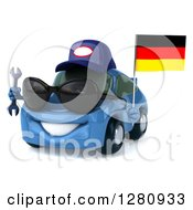 Clipart Of A 3d Blue Mechanic Porsche Car Facing Slightly Left Wearing Sunglasses And Holding A Wrench And German Flag Royalty Free Illustration