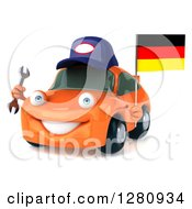 Clipart Of A 3d Orange Mechanic Porsche Car Facing Slightly Left And Holding A Wrench And German Flag Royalty Free Illustration