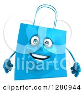 Clipart Of A 3d Happy Blue Shopping Or Gift Bag Character Royalty Free Illustration