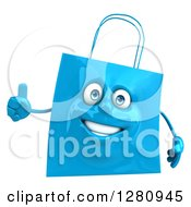 Clipart Of A 3d Happy Blue Shopping Or Gift Bag Character Holding A Thumb Up Royalty Free Illustration