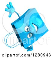 Clipart Of A 3d Happy Blue Shopping Or Gift Bag Character Cartwheeling Royalty Free Illustration