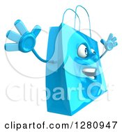 Clipart Of A 3d Happy Blue Shopping Or Gift Bag Character Facing Right And Jumping Royalty Free Illustration