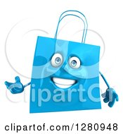 Clipart Of A 3d Happy Blue Shopping Or Gift Bag Character Gesturing With One Hand Royalty Free Illustration