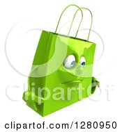 Clipart Of A 3d Pouty Green Shopping Or Gift Bag Character Facing Right Royalty Free Illustration
