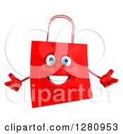 Clipart Of A 3d Happy Red Shopping Or Gift Bag Character Welcoming Royalty Free Illustration