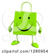 Clipart Of A 3d Happy Green Shopping Bag Character Royalty Free Illustration
