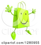 Clipart Of A 3d Happy Green Shopping Bag Character Jumping And Facing Right Royalty Free Illustration