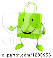 Clipart Of A 3d Happy Green Shopping Bag Character Presenting Left Royalty Free Illustration