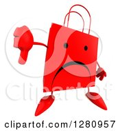 Clipart Of A 3d Unhappy Red Shopping Bag Character Holding A Thumb Down Royalty Free Illustration