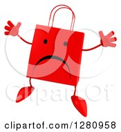 Clipart Of A 3d Unhappy Red Shopping Bag Character Jumping Royalty Free Illustration