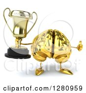 Clipart Of A 3d Gold Brain Character Holding A Trophy And Thumb Up Royalty Free Illustration